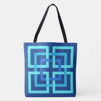 Modern Geometric Squares, Cobalt and Sky Blue Tote Bag