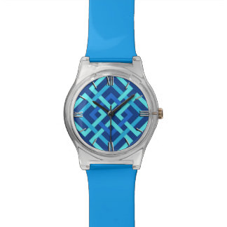 Modern Geometric Squares, Cobalt and Sky Blue Watch
