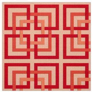 Modern Geometric Squares, Coral Orange & Mandarin Fabric