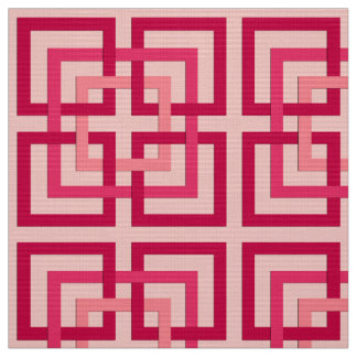 Modern Geometric Squares, Coral Pink and Coral Red Fabric