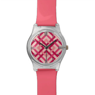 Modern Geometric Squares, Coral Pink and Coral Red Watch