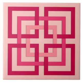 Modern Geometric Squares, Coral Pink and Red Ceramic Tiles