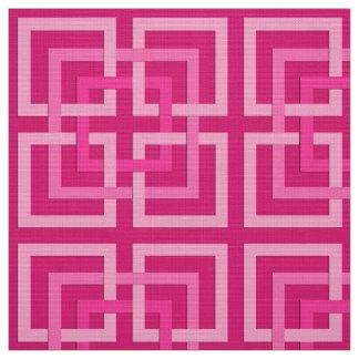 Modern Geometric Squares, Fuchsia and Light Pink Fabric
