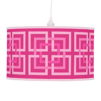 Modern Geometric Squares, Fuchsia and Light Pink Pendant Lamp