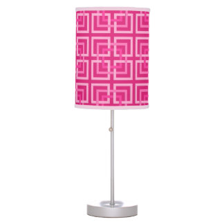 Modern Geometric Squares, Fuchsia and Light Pink Table Lamp