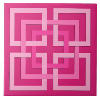 Modern Geometric Squares, Fuchsia and Light Pink Tile