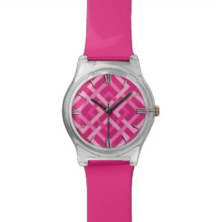 Modern Geometric Squares, Fuchsia and Light Pink Wrist Watches