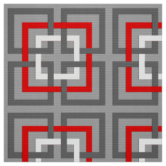 Modern Geometric Squares, Gray, Red and White Fabric