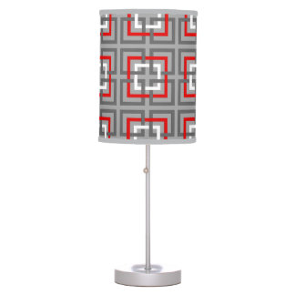 Modern Geometric Squares, Gray, Red and White Table Lamp