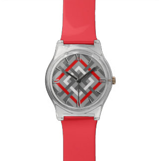 Modern Geometric Squares, Gray, Red and White Watches