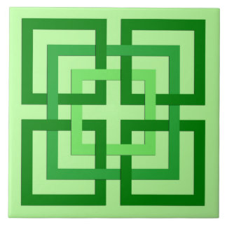 Modern Geometric Squares, Mint Green and Emerald Ceramic Tiles