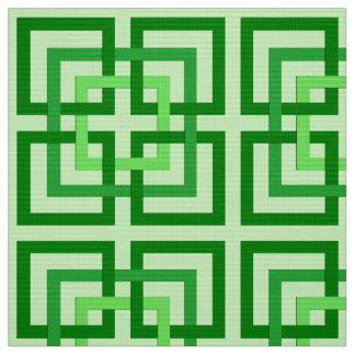 Modern Geometric Squares, Mint Green and Emerald Fabric