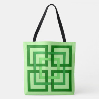 Modern Geometric Squares, Mint Green and Emerald Tote Bag