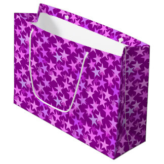 Modern Geometric Stars, Amethyst Purple and Orchid Large Gift Bag