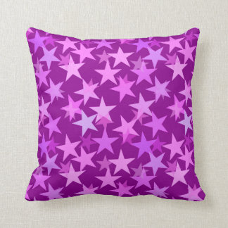 Modern Geometric Stars, Amethyst Purple and Orchid Throw Pillow