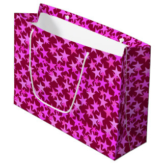Modern Geometric Stars, Burgundy Wine and Pink Large Gift Bag