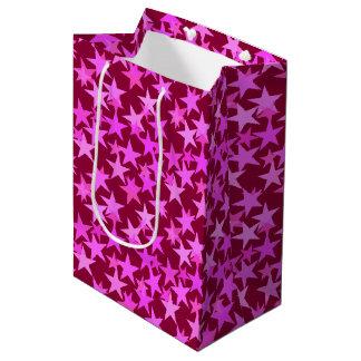 Modern Geometric Stars, Burgundy Wine and Pink Medium Gift Bag