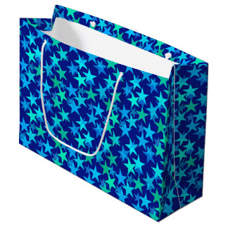 Modern Geometric Stars, Cobalt Blue and Turquoise Large Gift Bag