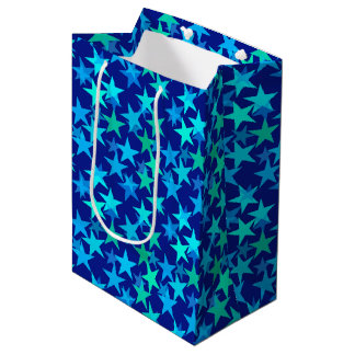 Modern Geometric Stars, Cobalt Blue and Turquoise Medium Gift Bag