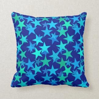 Modern Geometric Stars, Cobalt Blue and Turquoise Throw Pillow