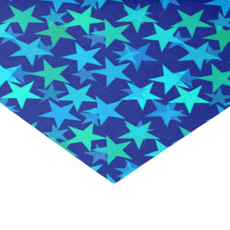 Modern Geometric Stars, Cobalt Blue and Turquoise Tissue Paper