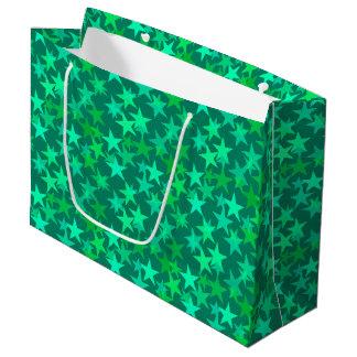 Modern Geometric Stars, Emerald and Mint Green Large Gift Bag