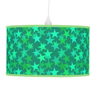 Modern Geometric Stars, Emerald and Mint Green Pendant Lamp