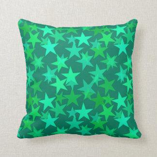 Modern Geometric Stars, Emerald and Mint Green Throw Pillow
