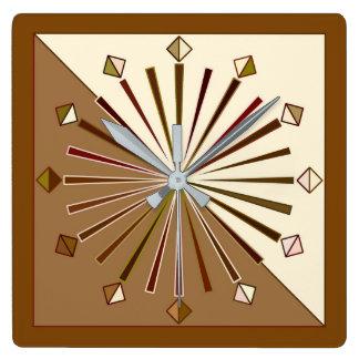 Modern Geometric Sunburst, Brown, Taupe and Beige Square Wall Clock