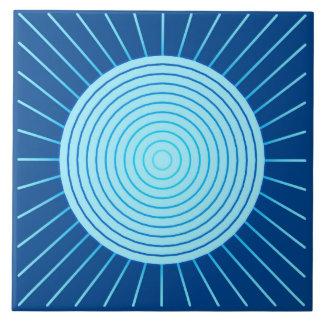 Modern Geometric Sunburst - Cobalt Blue and Aqua Ceramic Tiles