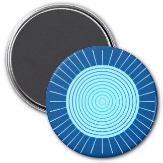 Modern Geometric Sunburst - Cobalt Blue and Aqua Magnet