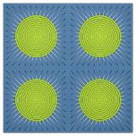 Modern Geometric Sunburst - Lime and Denim Blue Fabric