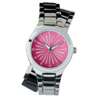 Modern Geometric Sunburst, Wine and Fuchsia Pink Watch