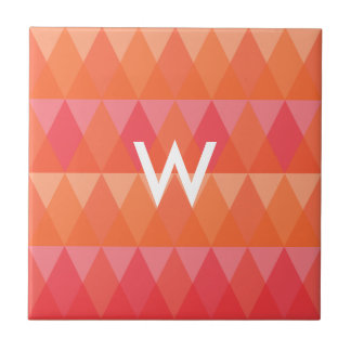 Modern Geometric Triangle Pattern Coral & Pink Art Ceramic Tiles