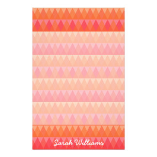 Modern Geometric Triangle Pattern Coral & Pink Art Stationery Design