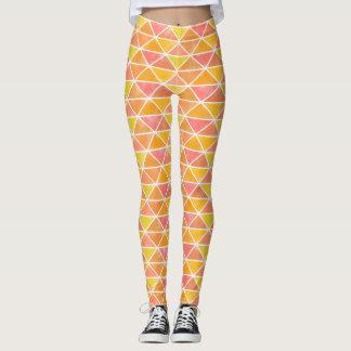 Modern Geometric Triangles Painted Sunny Orange Leggings