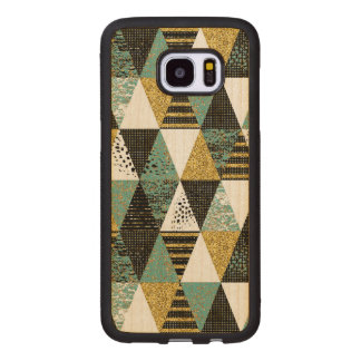 Modern Geometric Triangles Pattern Wood Samsung Galaxy S7 Edge Case