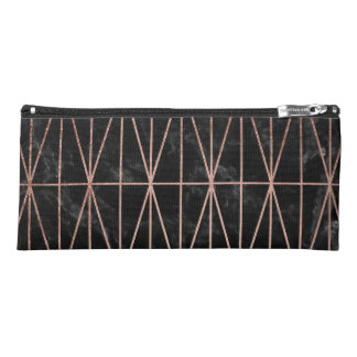 Modern geometric triangles rose gold black marble pencil case