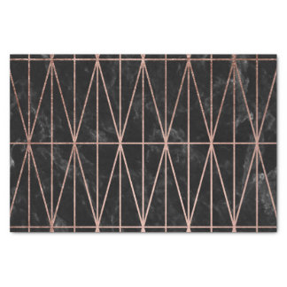 Modern geometric triangles rose gold black marble tissue paper