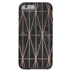 Modern geometric triangles rose gold black marble tough iPhone 6 case