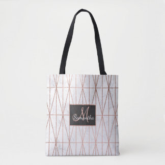 Modern geometric triangles rose gold white marble tote bag