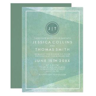 Modern Geometric Watercolor Teal Card