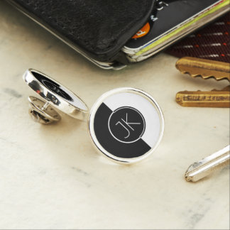 Modern Geometric White & Black Design Monogram Lapel Pin