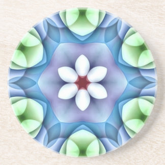 Modern Geometric White Daisy Beverage Coaster