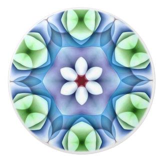 Modern Geometric White Daisy Ceramic Knob