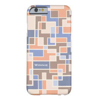 Modern Geometrical Color Block Plaid Monogram Barely There iPhone 6 Case