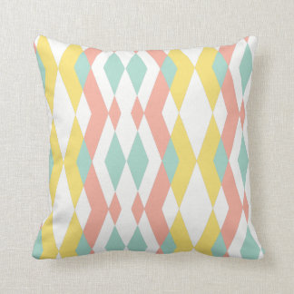 Modern geometry pastel blue pink yellow throw pillow
