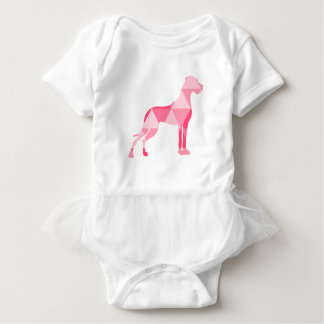 Modern German Dogge in pink ones Baby Bodysuit