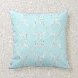 Modern Giraffe Diamond in Teal Throw Pillow
