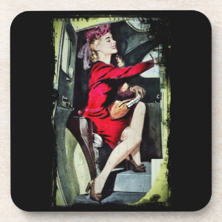 Modern Girl in Nylons Beverage Coaster